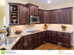 Modern Kitchen Dark Cabinets Modern Kitchen With Dark Cabinets And Wood Floor Stock Photo