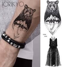 Iorikyo мужчины прохладный белый медведь временные татуировки треугольник ледник