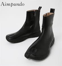 antique split toe martin boots side zip flat booties women black white leather new autumn winter