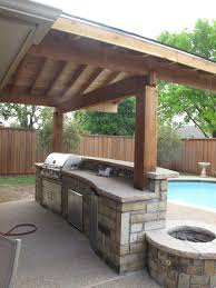 Wonderful Wooden Awning Pillars And Plafond Also Modern Bull Outdoor  Gourmet-Q Grilling Island With