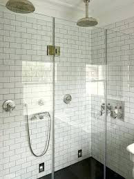 shower subway tile incredible his and her walk in with seamless white surround tiled niche double rainfall heads as well an beveled ideas