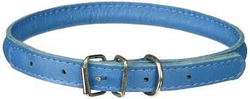 1 2 inch wide soft padded rolled round leather dog collar 22 to 25 inch length blue rivetless design 7 sizes and 12 colors available by dogline