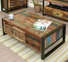 Agra Reclaimed Wood Furniture Large Storage Coffee Table With Drawers  EBay a