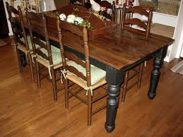 solemn rustic dining farmhouse table with antique brown armless sining chairs on wood floors as inspiring antique dining room furniture designs
