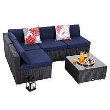 rattan wicker patio sectional sofa