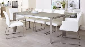 grey frosted glass and brushed metal extending dining table
