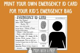 Printable Identification Card Emergency Id Cards Free Download Mom With A Prep