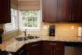 Kitchen Granite Tile Countertops Modern Stylish Stainless Steel Corner Sink And Sleek Light Brown