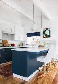 blue kitchen mid century modern track lighting