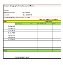 Excel Company Weekly Sales Status Report Template Simple