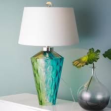 interesting table seaside water glass table lamp aqua blue and lime green glass vase has a rippling water throughout teal p