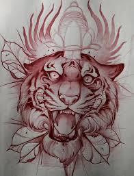эскиз тату с тигром проткнутым кинжалом Dian S➑ татуировки с