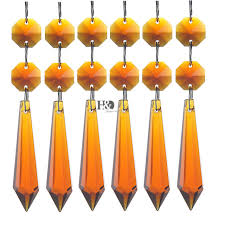 30 amber chandelier glass crystals lamp prisms parts hanging drops pendants 55mm
