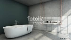 bathroom design modern loft green wall tiles concrete wall white shelves bath accessories metal color
