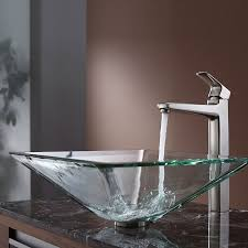 kraus square glass vessel sink in clear with virtus faucet in brushed nickel brushed nickel