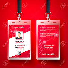 Company Id Card Template Vector Illustration Red Corporate Id Card Design Template Set