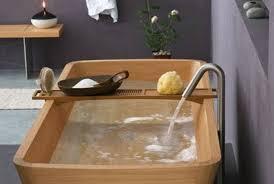 image of zen wooden bathtub caddy