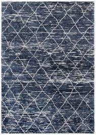 rugsville trellis navy blue bamboo silk moroccan rug 120x180 cm