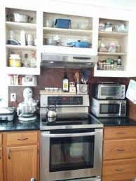 Small Kitchen Organizing With Microwave Oven Shelf Under Shelving