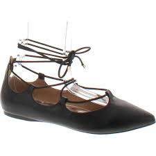 city classified women s heat pointy toe faux leather lace up akle wrap flat sandals black