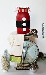 Decorated Christmas Jars Ideas DecoArt Americana chalky paint Santa mason jar Debbiedoos 34