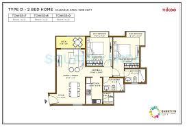 bhartiya nikoo homes flagship 2 bhk 1098 sq ft apartment floor plan
