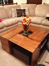 Coffee Table, Outstanding Brown Sqaure Rustic Wood Crate Coffee Table With  Shelf Design To Decorating ...