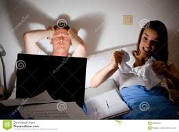 this couple is fighting because he`s working too much stock photo this couple is fighting because he`s working too much