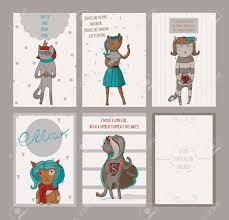 Cat Stock Quote Mesmerizing Set Of Female Vertical Cards With Cats With Reverse And Text