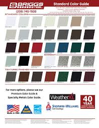 Mbci Color Chart 2 67 X 7 8 Corrugated Panel Briggs Steel