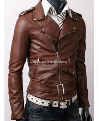 brown slim fit casual bikers jacket for men