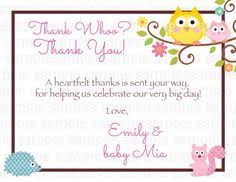 Happi Tree Owl Baby Shower Thank You Card  Happi Tree Owl Baby Owl Baby Shower Thank You Cards
