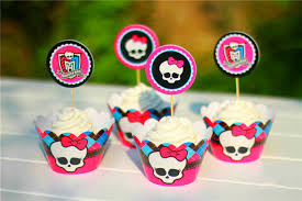 Cupcake Decorating Accessories Free shipping Monster High decoration cupcake wrapper picks paper 52