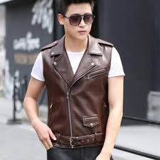 senarai harga b spring autumn men s leather biker vest with shoulder epaulets men faux leather waistcoat sleeveless jacket coat outerwears terkini di