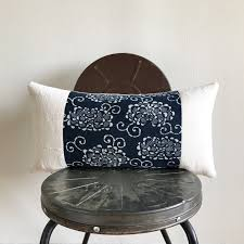 antique japanese indigo katazome african off white mudcloth lumbar pillow cover size 11x22