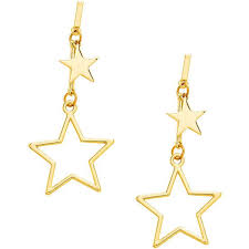 shein sheinside double star design drop earrings 21 myr liked on polyvore featuring jewelry earrings gold gold drop earrings gold earrings jewelry