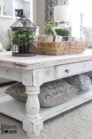earthy white washed table and clutter catching raffia basket