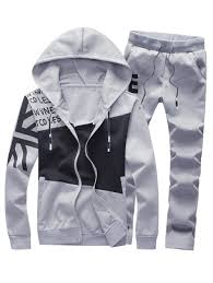 2018 Graphic Print Color Block Panel Hoodie And Pants Twinset Gray L