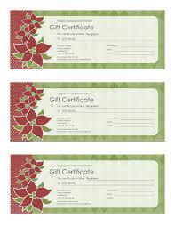 Holiday Gift Certificate Holiday Gift Certificate Poinsettia Design