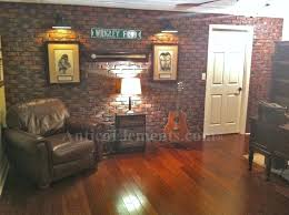interior faux stone wall installed brick panels in a man cave interior faux stone wallpaper