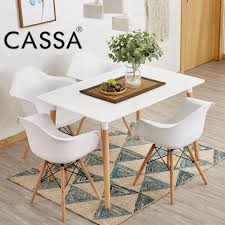 cassa eames rectangular white dining table only with natural wood legs 120x60cm