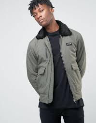 nicce london ma1 er jacket with faux fur collar midweight woven fabric khaki men nicce new york coat nicce new york sweatshirt navy uk