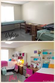 Auburn University Dorm before and after Idea: Have a normal bookshelf but  with the bottom shelved out, allowing a bed to sit inside.