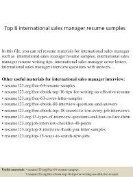 Artist Manager Resume Job Description Top 8 International Sales Manager Resume Samples