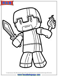 Small Picture Minecraft Herobrine Coloring Page H M Coloring Pages