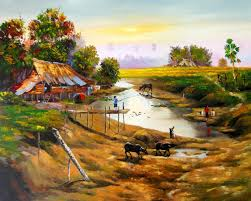 thai village landscape paintings thai oil paintings from thailand