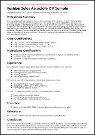 sales assistant cv example fashion sales associate cv sample myperfectcv