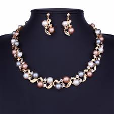 2019 imitation pearl necklaces earrings set gold silver tone statement necklace pearl choker necklace jewelry set womens gifts whole from htlove