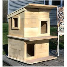 outdoor cat houses wooden shelters and for outside use heated house diy two level shelter deck best outside cat house