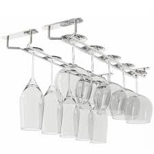 WALLNITURE Stemware Wine Glass Rack Hanger Under Cabinet Storage Chrome  Finish 17 3/4 Inch